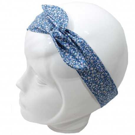 Bandeau fil de fer liberty bleu blanc mauve