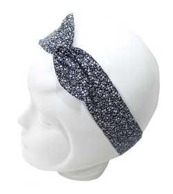 Bandeau magique liberty bleu marine et blanc