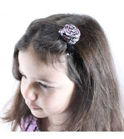 Barrette rose liberty mauve