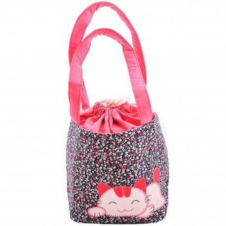 Sac fillette liberty rose mauve bleu motif chat