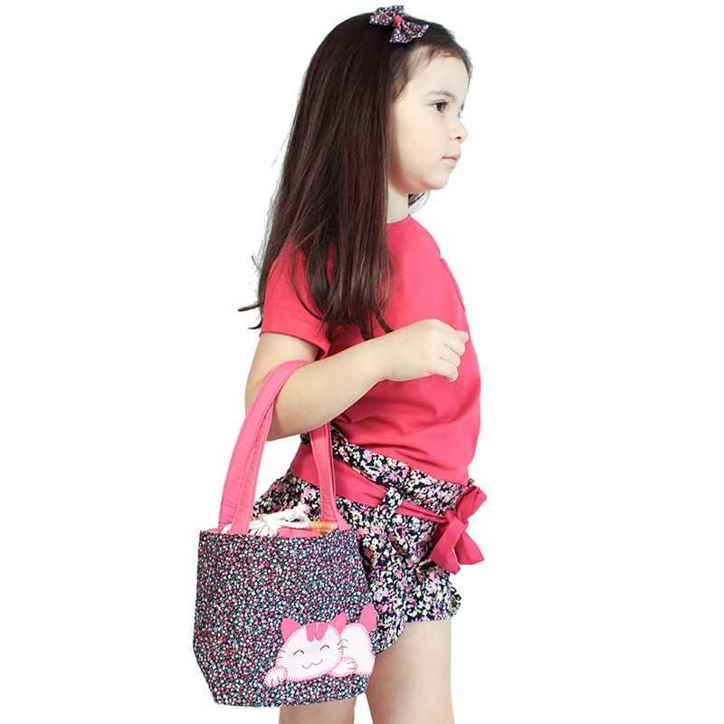 sac fille en tissu liberty rose mauve et bleu motif patchwork chat. Black Bedroom Furniture Sets. Home Design Ideas