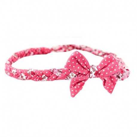 Bandeau tressé à noeud rose à pois