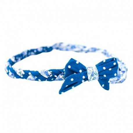 Bandeau tressé à noeud bleu à pois
