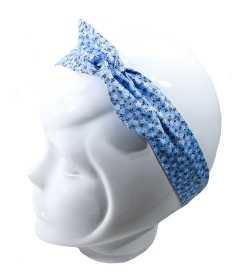 Bandeau magique fille liberty bleu et blanc