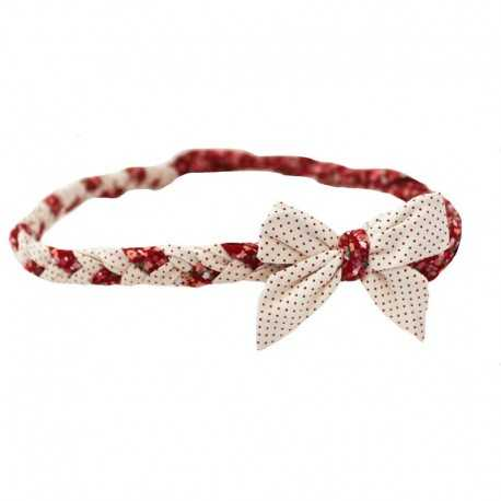 Bandeau tressé à noeud écru à pois rouges