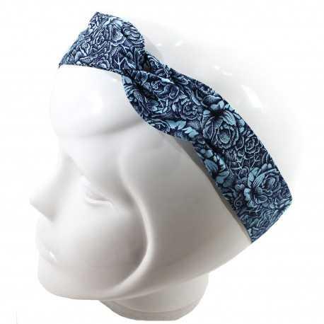Bandeau magique motif fleuri bleu