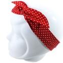 Bandeau pin up rouge à pois blancs