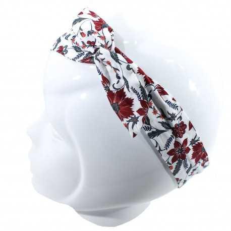 Bandeau magique fleuri blanc et rouge