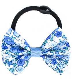 Elastique cheveux noeud liberty bleu