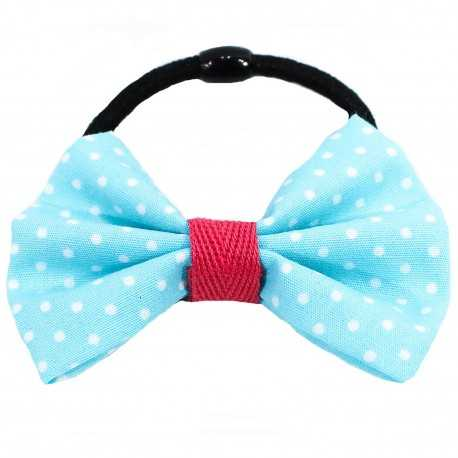 Chouchou noeud bleu à pois blancs