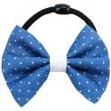 Chouchou noeud bleu marine à pois blancs