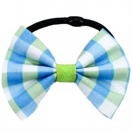 Chouchou noeud à carreaux bleus et verts
