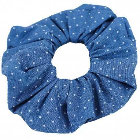 Chouchou bleu à petits pois blancs