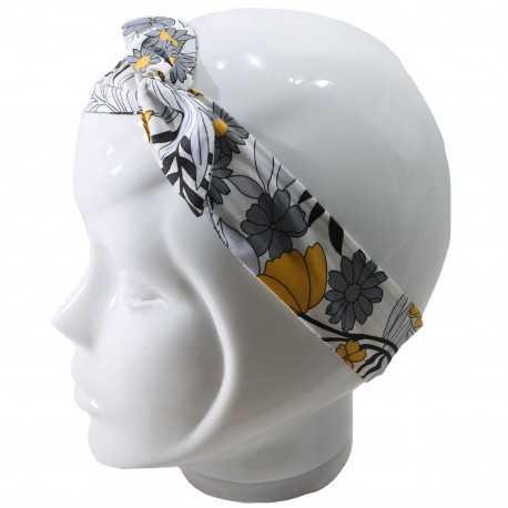 Bandeau magique blanc à fleurs grises et jaunes