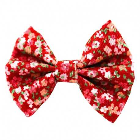 Barrette petit noeud liberty rouge