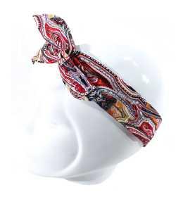 Bandeau magique motif arabesque rouge et noir