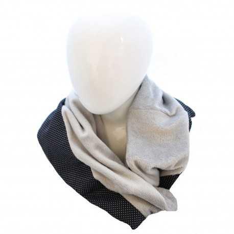 59806010fe3e Echarpe snood grise et noire à pois blancs