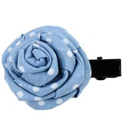 Barrette rose bleue clair pois blancs