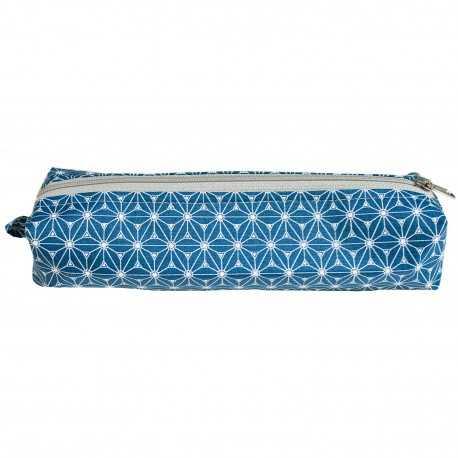 Trousse longue en coton enduit bleu et blanc