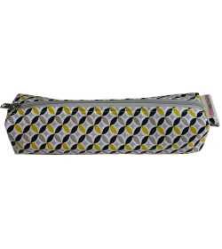Trousse longue en coton enduit jaune et noir