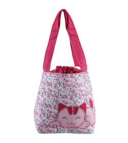 Sac liberty rose et bleu motif chat