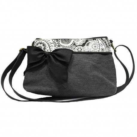 Mini sac bandoulière gris foncé bandana