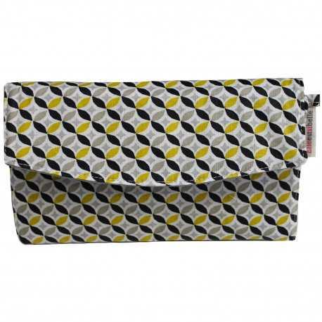 Portefeuille femme en coton enduit jaune et noir